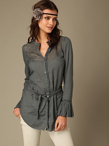 Victoria's Criss Cross Shirt :  shirt dress grey style ruffled