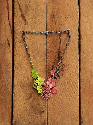 Free People Clothing Boutique > Flower Cluster Necklace :  necklace flower pink hippie