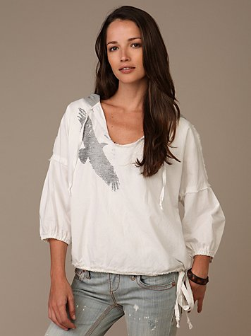 Free People Clothing Boutique > We The Free Eagle Eye Hoodie :  bohemian chic white shirts unique