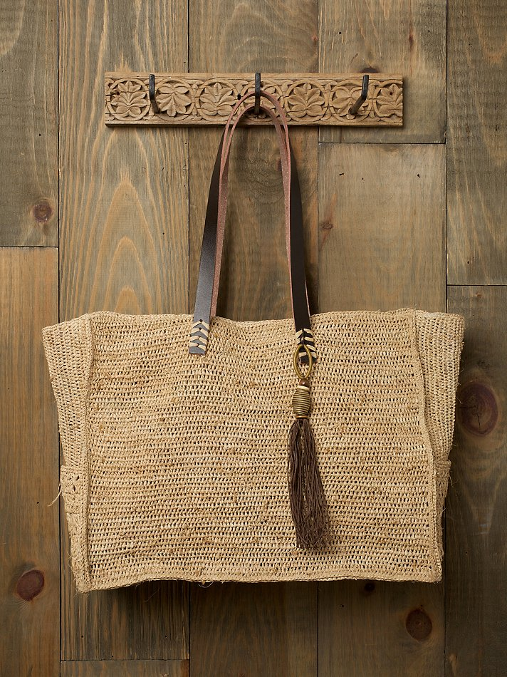 Free People Clothing Boutique > Straw & Leather Tassle Tote :  tote tassle straw tote straw