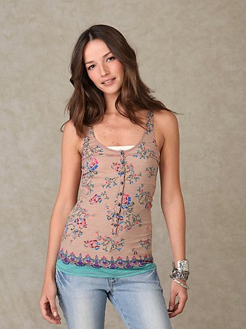 Hand Drawn Henley at Free People Clothing Boutique :  blue shirt scoop neck violet