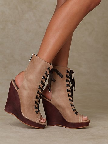 Lace Up Peep Toe Wedge :  wedge wedges platform wedges lace up wedge