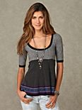 Short Sleeve Space Dye Sweater Tunic