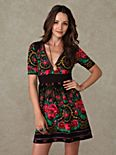 Short Sleeve Printed Surplice Dress