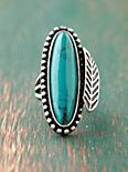 Long Stone Feather Ring