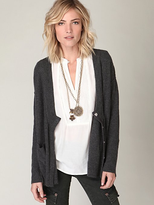 Cashmere Snap V-Neck Cardigan