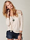 Long Sleeve Crochet Shoulder Pullover