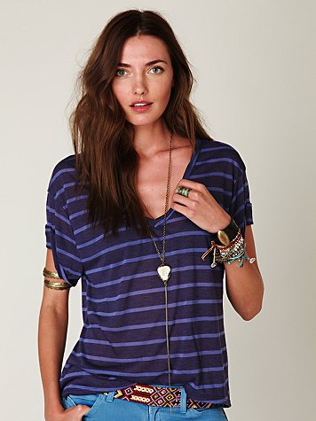 Harley's Hi-Low Tee at Free People Clothing Boutique :  tops stripes shirts t shirt
