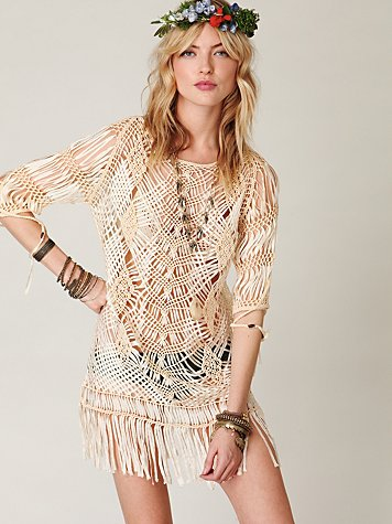 Thatched Fringe Dress at Free People Clothing Boutique :  dresses apparel crochet fringe