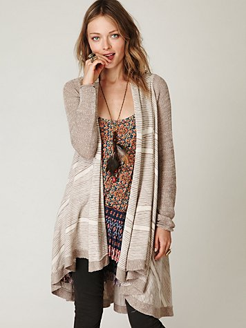 Mini Stripe Long Cardi at Free People Clothing Boutique :  cardigans sweaters long cardigan apparel