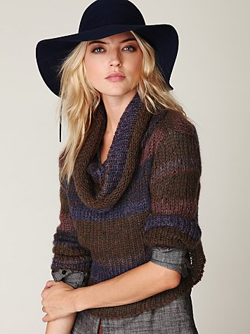 Stripe Cowl Neck Sweater