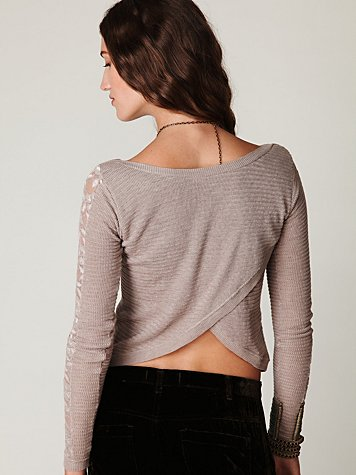 Open Lace Sleeve Top