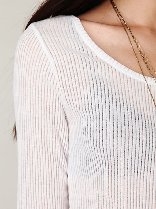 Cropped Long Sleeve Rib Top