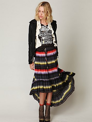 Crinkle Pleated Hi-Low Skirt