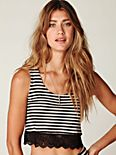 Lace Trim Stripe Crop Top