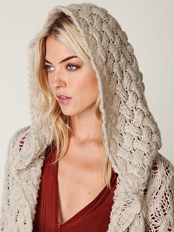 Hooded Cable Cardigan
