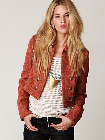 Shrunken Jacquard Military Jacket
