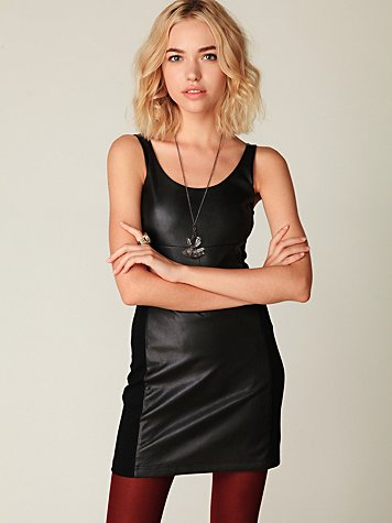 Vegan Leather Bodycon Dress