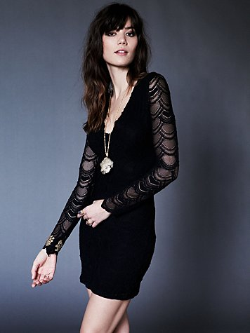 Nightcap Deep V Long Sleeve Lace Dress