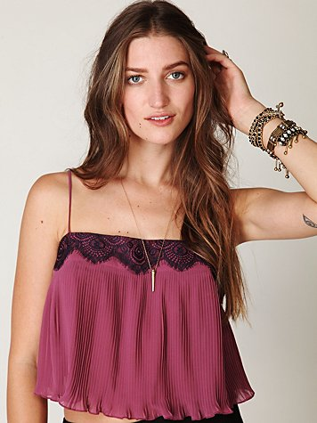 Pleated Lace Trim Crop Top
