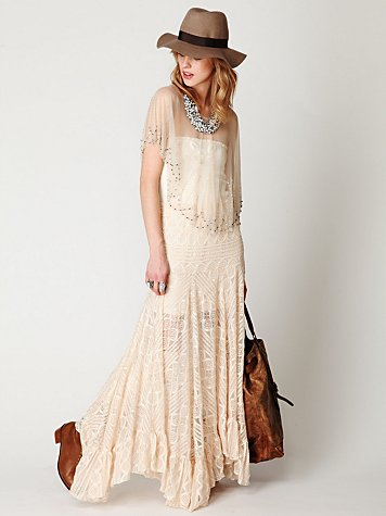 Two Tone Pieced Lace Maxi