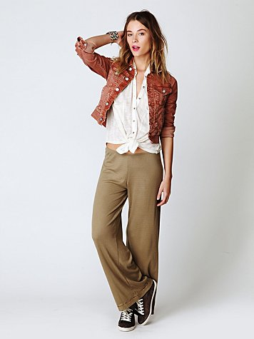 Free People Wide Leg Pointelle Pant