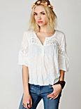 Long Sleeve Crinkle and Lace Top