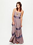 Lace Stripes Maxi Dress