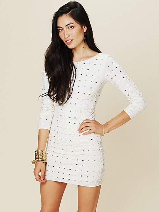 Free People Long Sleeve Embellished Party Dress in Backless-Dresses