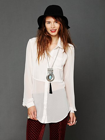 Free People Sheer Buttondown Tunic