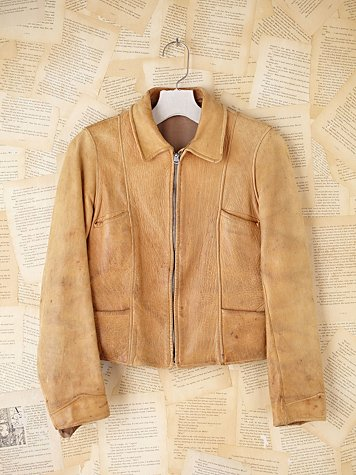 Free People Vintage Cropped Leather Coat