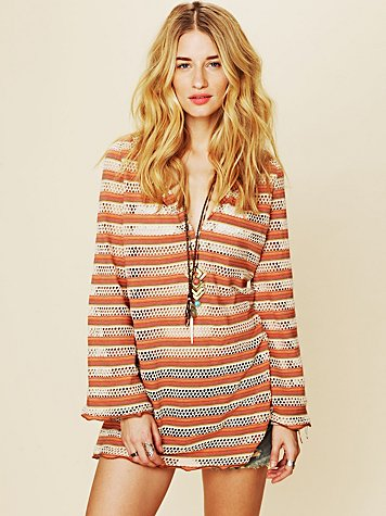 Free People Parallel Crochet Hooded Tunic
