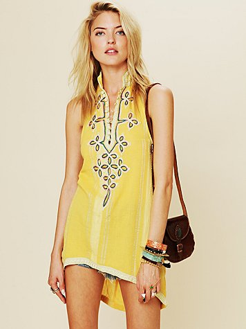Free People FP New Romantics Embroidered Tassel Tunic