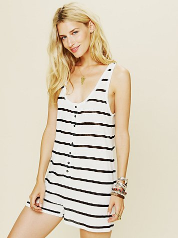 Free People Fishnet Stripe Romper