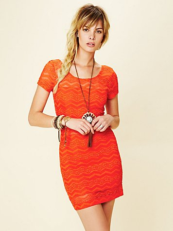 Free People Geo Print Lace Bodycon