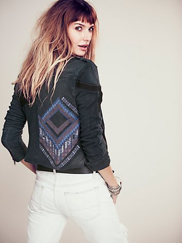 Free People We The Free Moto Patch Jacket