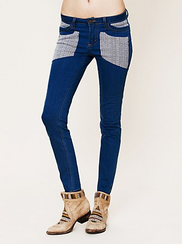 Embroidered Patch Skinny Jean