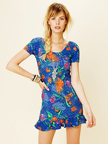 Kenny Guadalajara Betsey Print Short Sleeve Dress