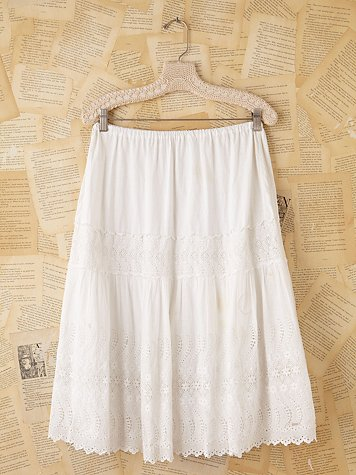 Free People Vintage White Cotton Peasant Skirt