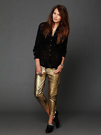 One Teaspoon Fear and Loathing Gold Leather Pants