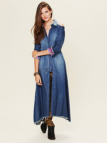 Old West Cold Shoulder Maxi Dress