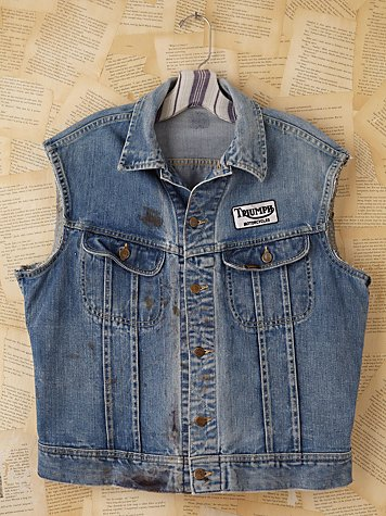 Vintage Distressed Denim Vest