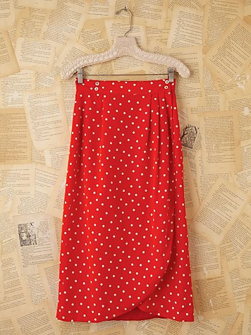 Vintage Red and White Polka Dot Midi Skirt