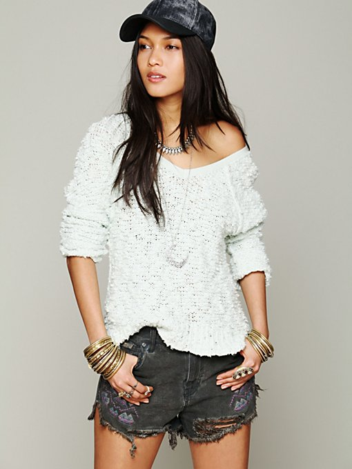 Shaggy Knit Pullover in clean-slate