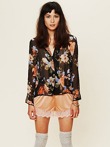 La Fee Verte Sheer Floral Buttondown Top