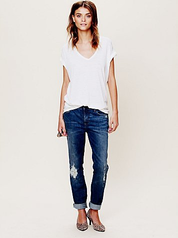 Free People High Rise Patched Menswear Skinny