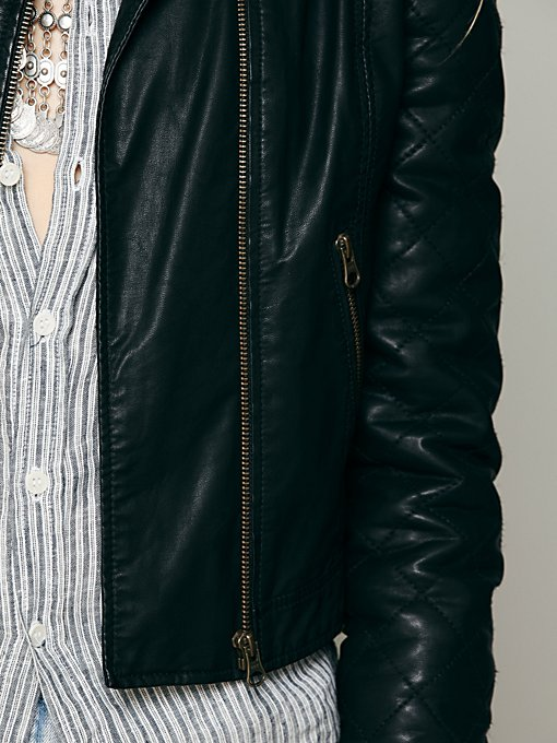 Quilted Sleeve Vegan Leather Jacket