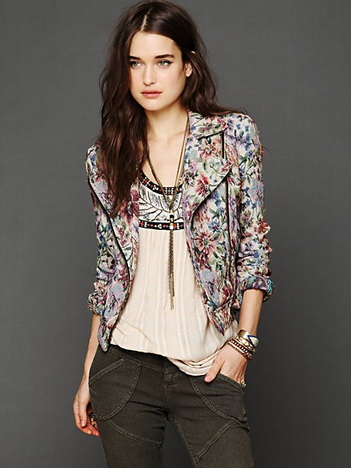 Free People Tapestry Moto Jacket in Jackets