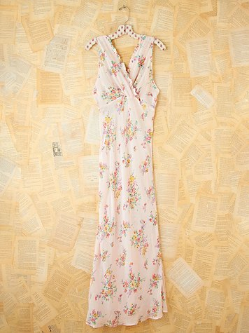 Vintage Floral Printed Slip Dress
