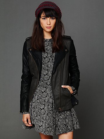 Free People Pieced Vegan Motorcycle Jacket